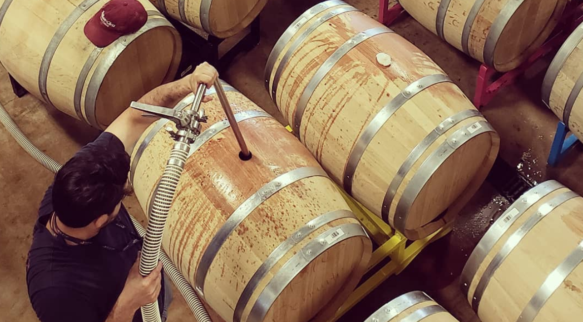 Filling Barrels in the Winery